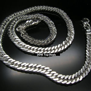 """Other - Cool Silver 7mm Wide Carved Design Necklace 20"""""""